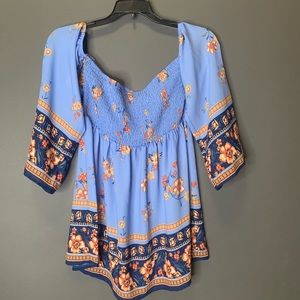 Lily white blue floral blouse